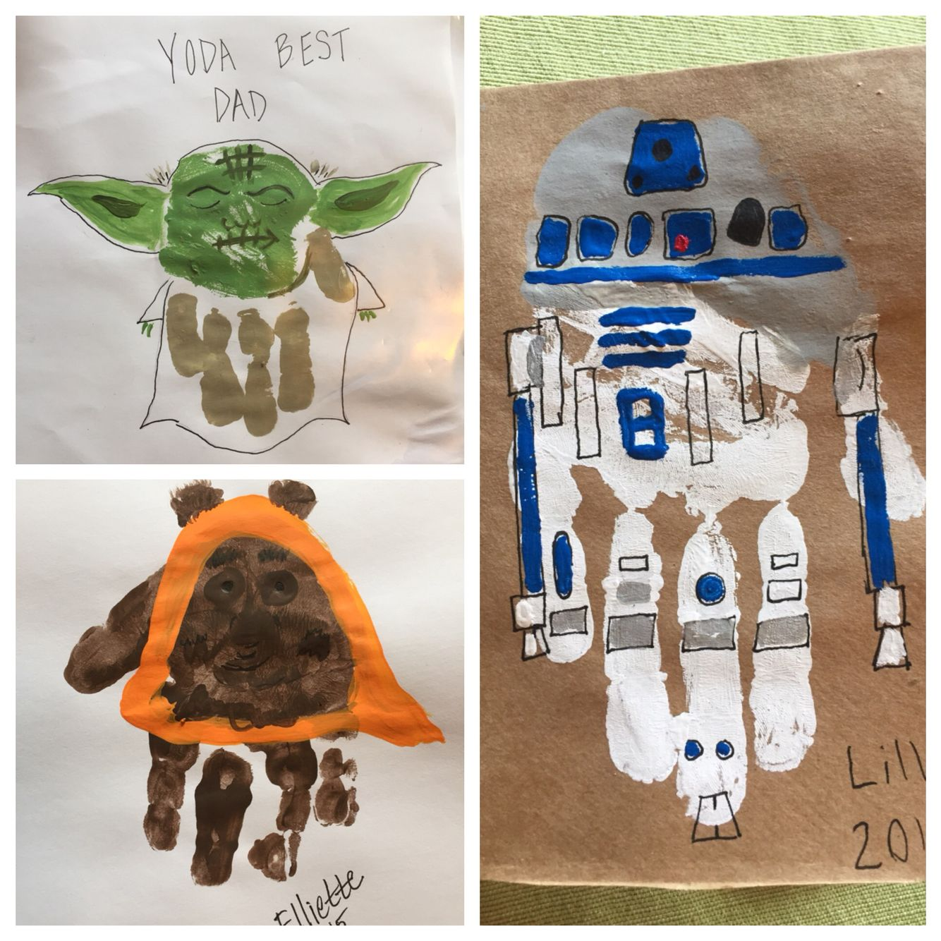 Star Wars Handprint Cards For Fathers Day