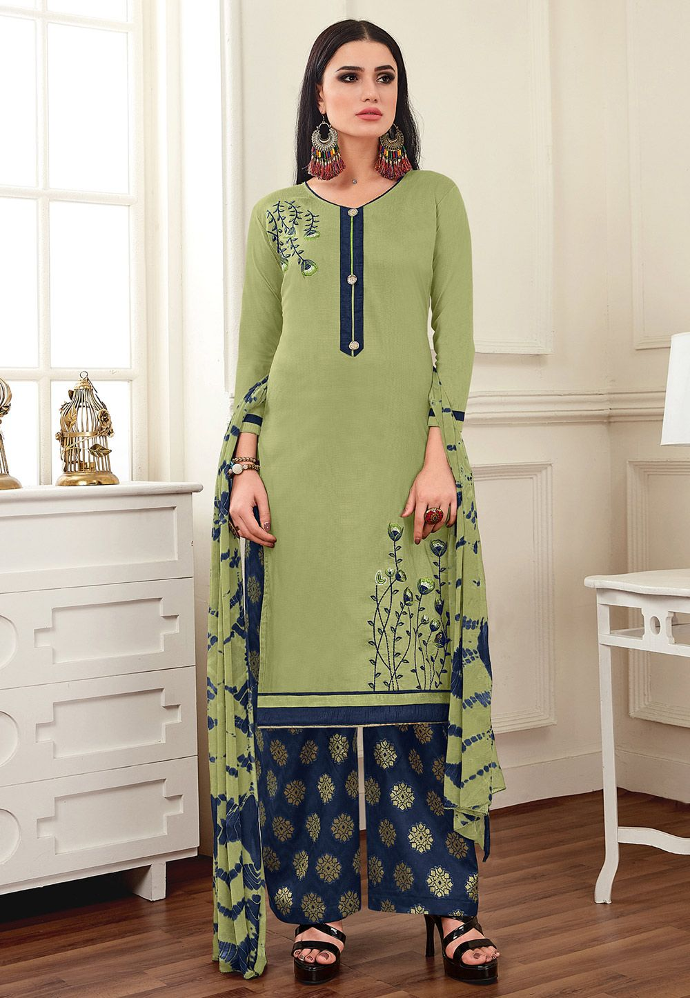 3209b25f8 Buy Light Green Silk Pakistani Style Suit 161668 online at lowest price  from huge collection of salwar kameez at Indianclothstore.com.