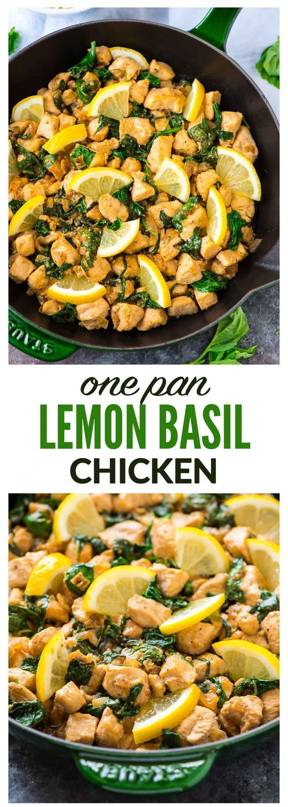 One Pan Lemon Basil Chicken with Spinach – Ready in 20 minutes! Fresh, flavorful, and healthy. Serve with rice for an easy weeknight meal. Recipe at wellplated.com | @wellplated #healthyweeknightmeals