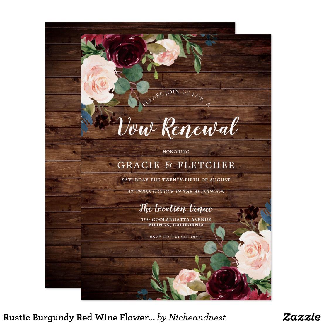 Rustic Burgundy Red Wine Flowers Vow Renewal Invitation