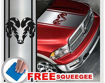 CHROME Dodge Ram Truck Hood Stripes With Ram Head Logo Vinyl Decal - Custom truck decals vinyls
