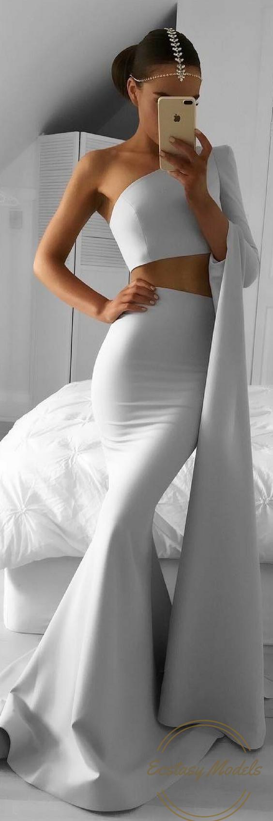 Jennifer 2 Piece By Portiaandscarlett Fashion Look By Emma Spiliopoulos Piece Prom Dress White Prom Dress Prom Dresses Two Piece [ 1692 x 564 Pixel ]