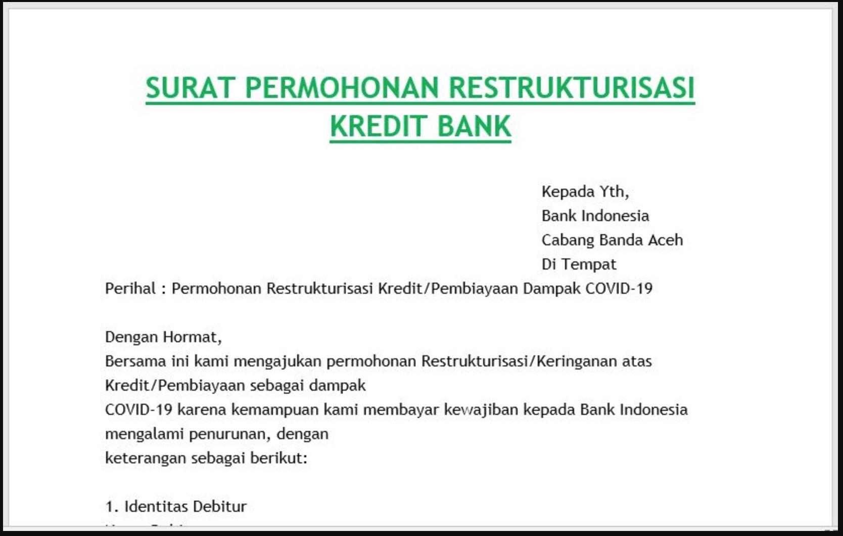 Surat Permohonan Restrukturisasi Kredit Bank Pengikut Surat Kelahiran Anak
