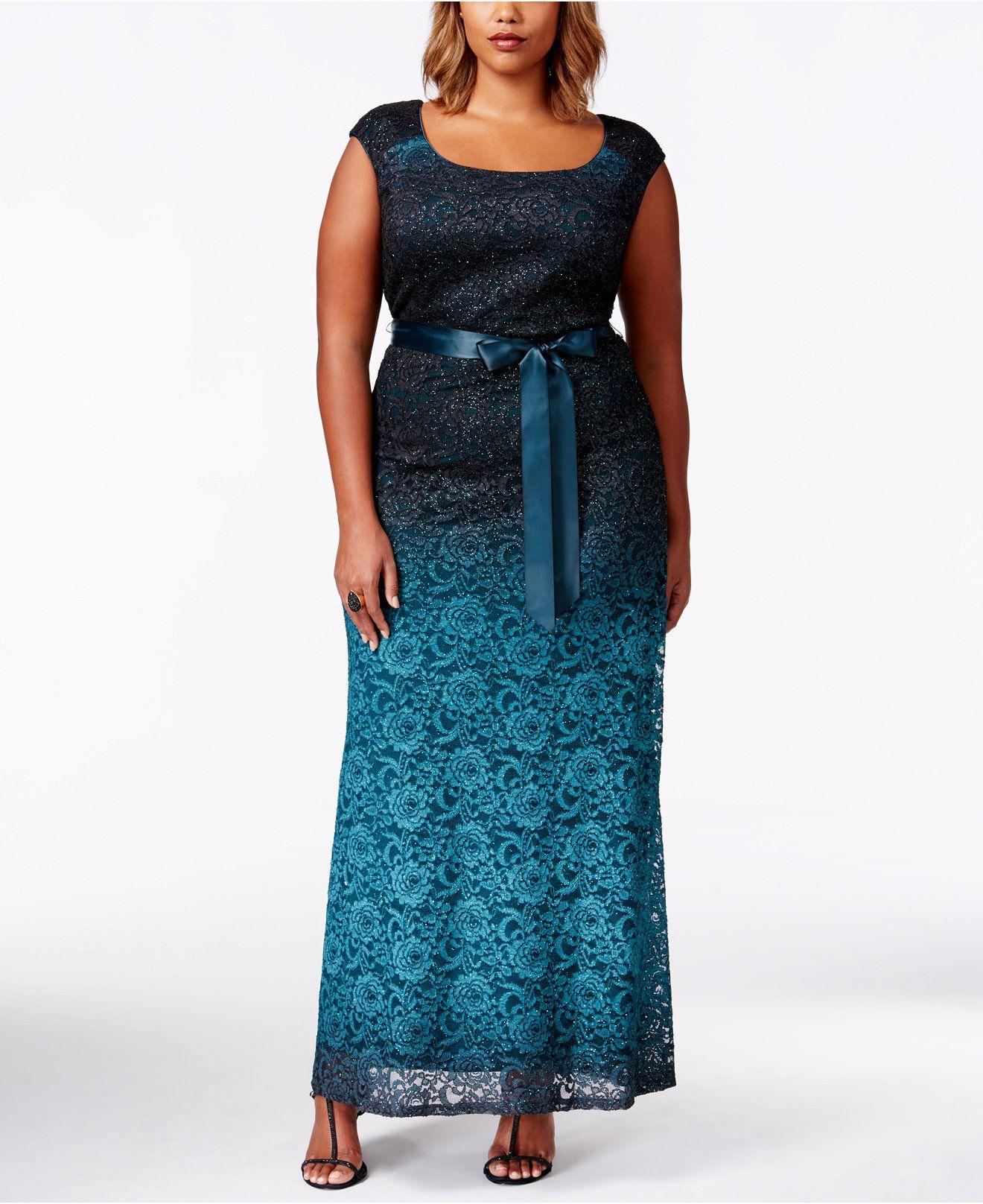 R & M Richards Plus Size Sleevless Ombre-Lace Evening Gown - Dresses ...