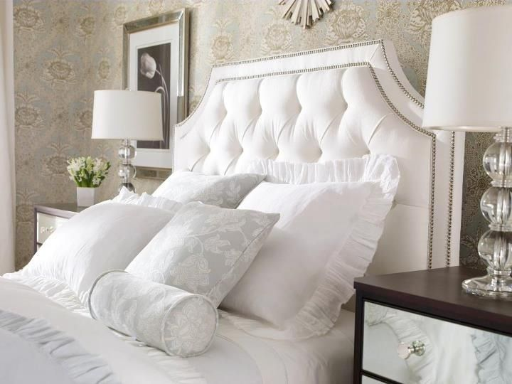 Love This Tufted Headboard Beautiful Monochromatic Bedroom