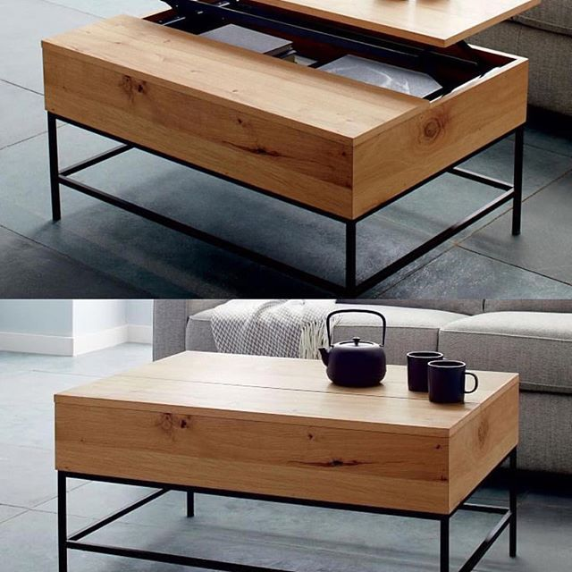 Coffee table with a Japanese esque design with industrial storage