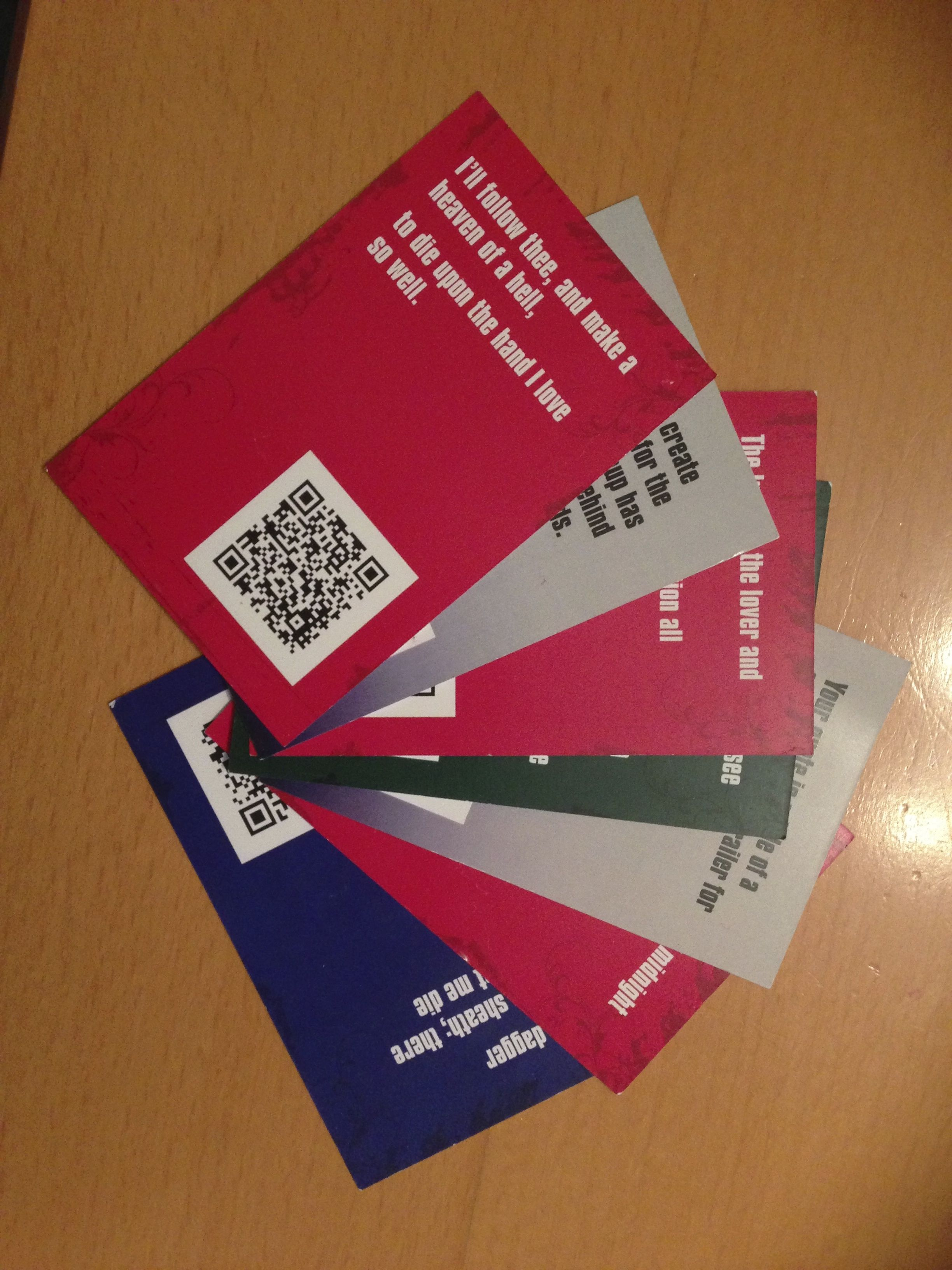 2nd Folio our QR code based Shakespearian card game for