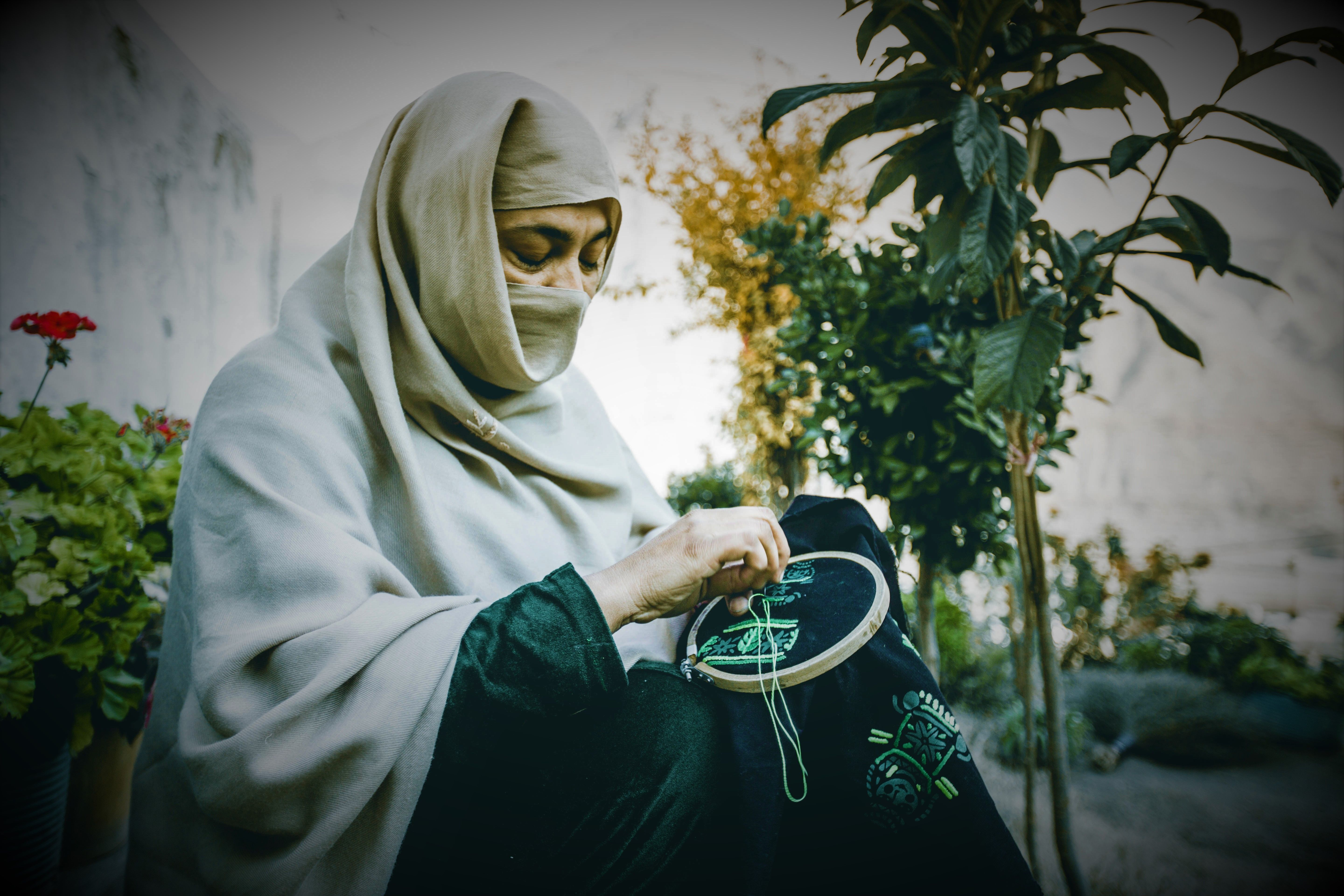 Chitral Women sewing