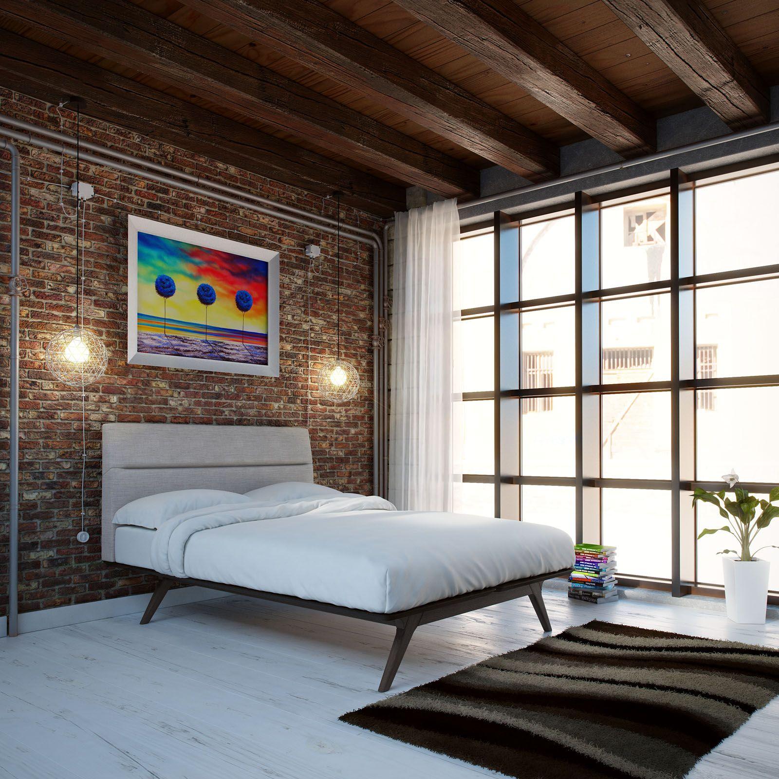 modway addison queen bed frame in black gray bedroom arrangement