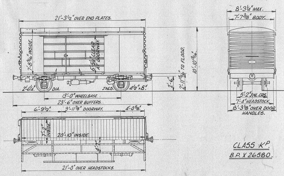 nzr new zealand railways class kp wagon line drawings