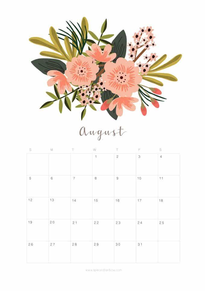 Calendar Illustration Search : Printable august calendar monthly planner flower