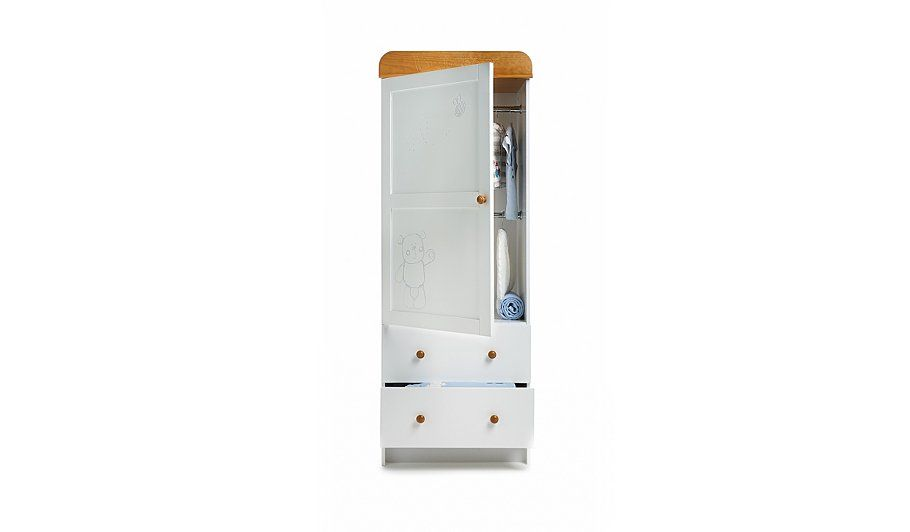 Obaby B Is For Bear Single Wardrobe White From Our Nursery Furniture Range Today