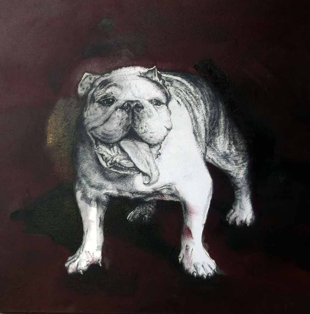 Buy Paintings Of Bull Dogs For Sale | Long Walk by Sua Havenga | StateoftheART