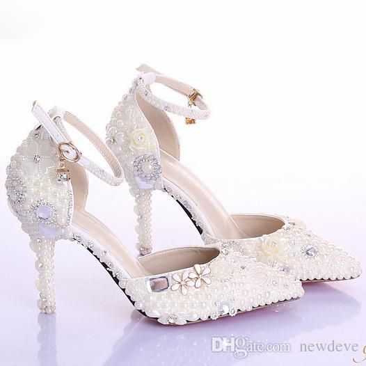 Crystal Beaded Bridal Shoes Pearl Pure