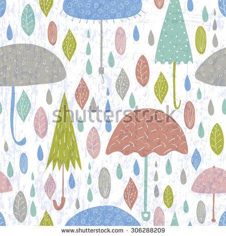 Seamless Rainy Pattern Vector Background With Cute Hand Drawn Umbrellas For Textile Wrapping