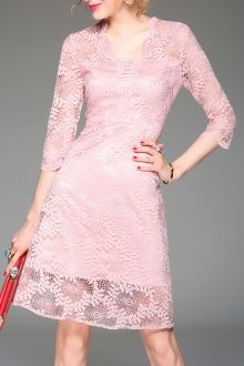 Blacktang Pink Cut Out 3/4 Sleeve Lace Dress