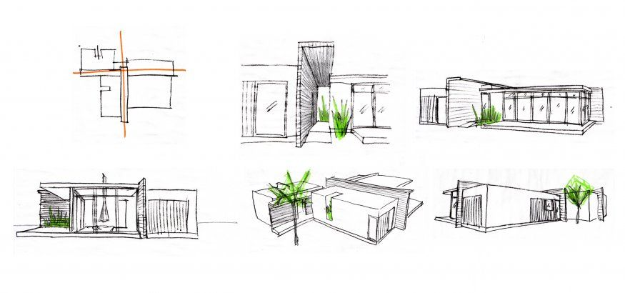 Glass wood house design conceptual sketches for Modern house design sketch