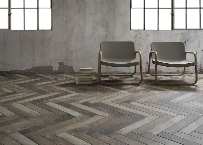 This herringbone pattern puts a lively spin on tiles inspired by external fa§ades and interiors of old industrial buildings found in Anglo Saxon countries - herringbone pattern