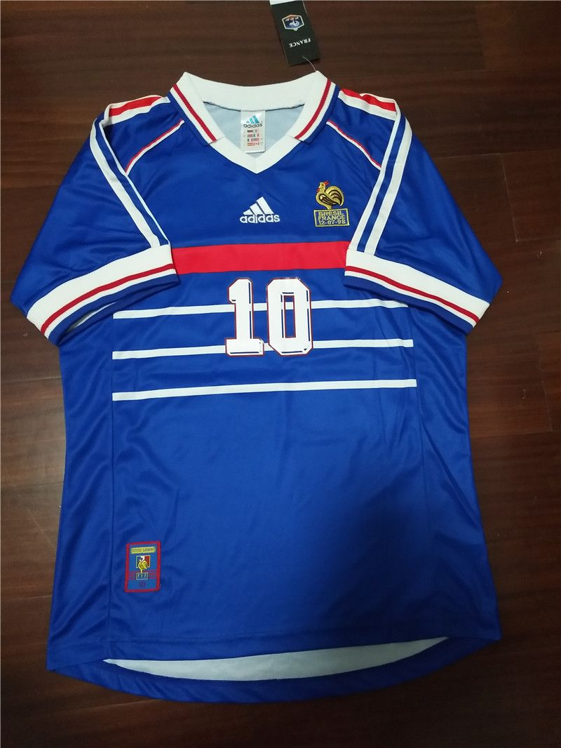 outlet store fa21d d9197 Zidane 1998 France World Cup Retro Soccer Jersey Vintage ...