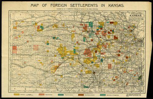 Marking Irish settlement, Map of foreign settlements in Kansas, 1894