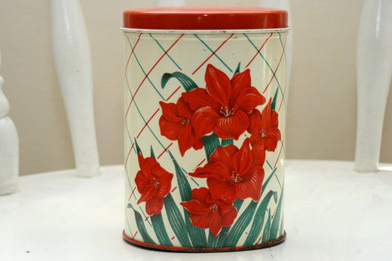 Vintage Metal Canister  Red Floral by TheCozyOldFarmhouse on Etsy