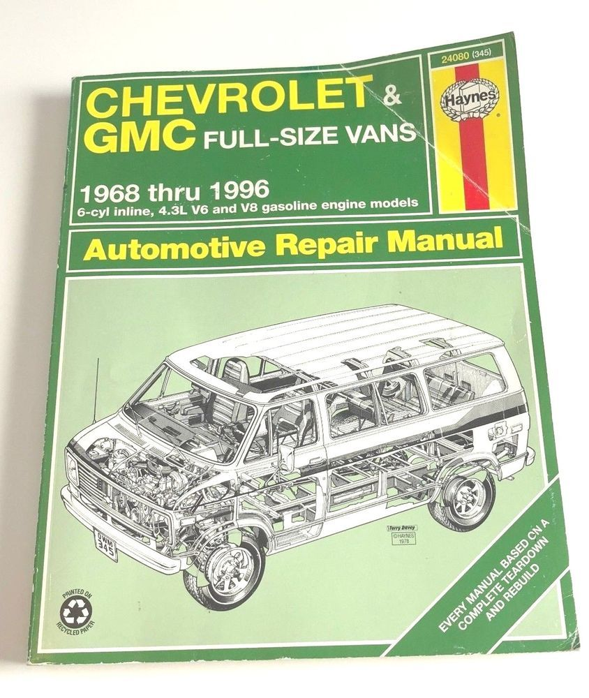 Haynes Repair Manual Chevrolet Gmc Full Size Vans 1968 Thru