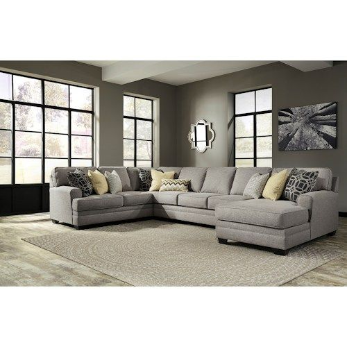 Best Cresson Contemporary 4 Piece Sectional With Chaise Armless Sofa By Benchcraft Furniture 400 x 300