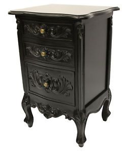 french furniture royal carved black three drawer bedside table
