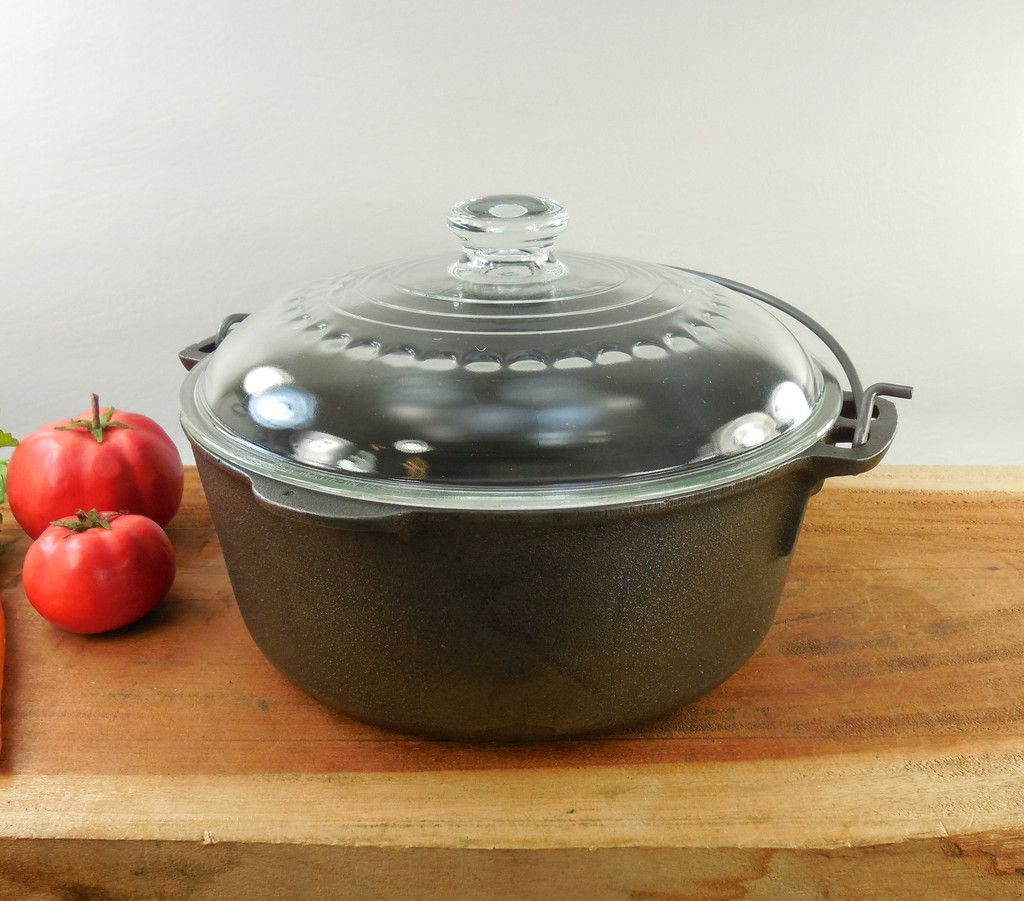 Cheap cajun cookware dutch ovens 6 quart seasoned cast iron dutch oven - Wagner 8 Cast Iron 5 Quart Dutch Oven Pot C 8 Glass Lid Made In Usa Unmarked
