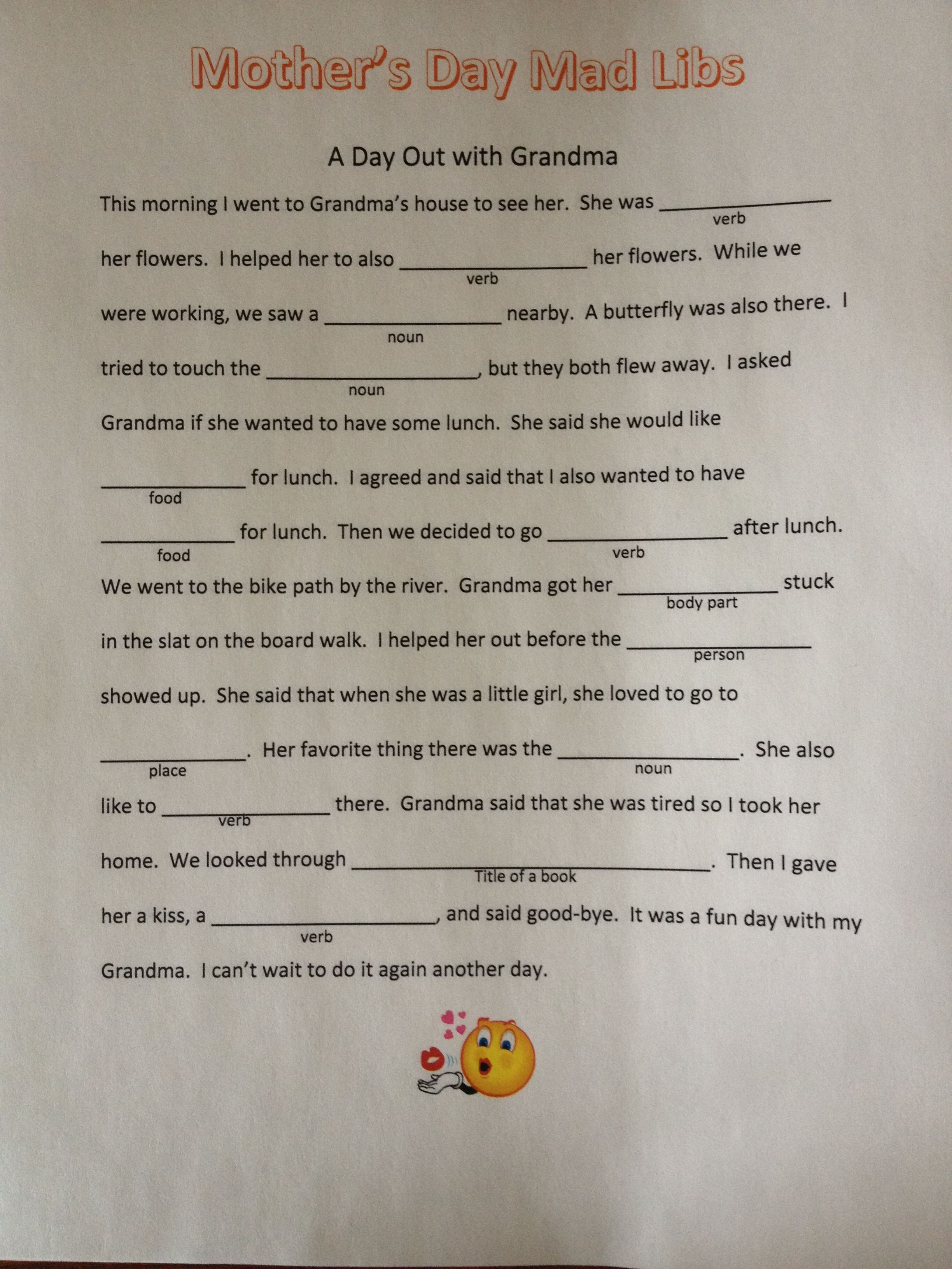 This Is A Cute Mad Lib That I Created For My Kids To