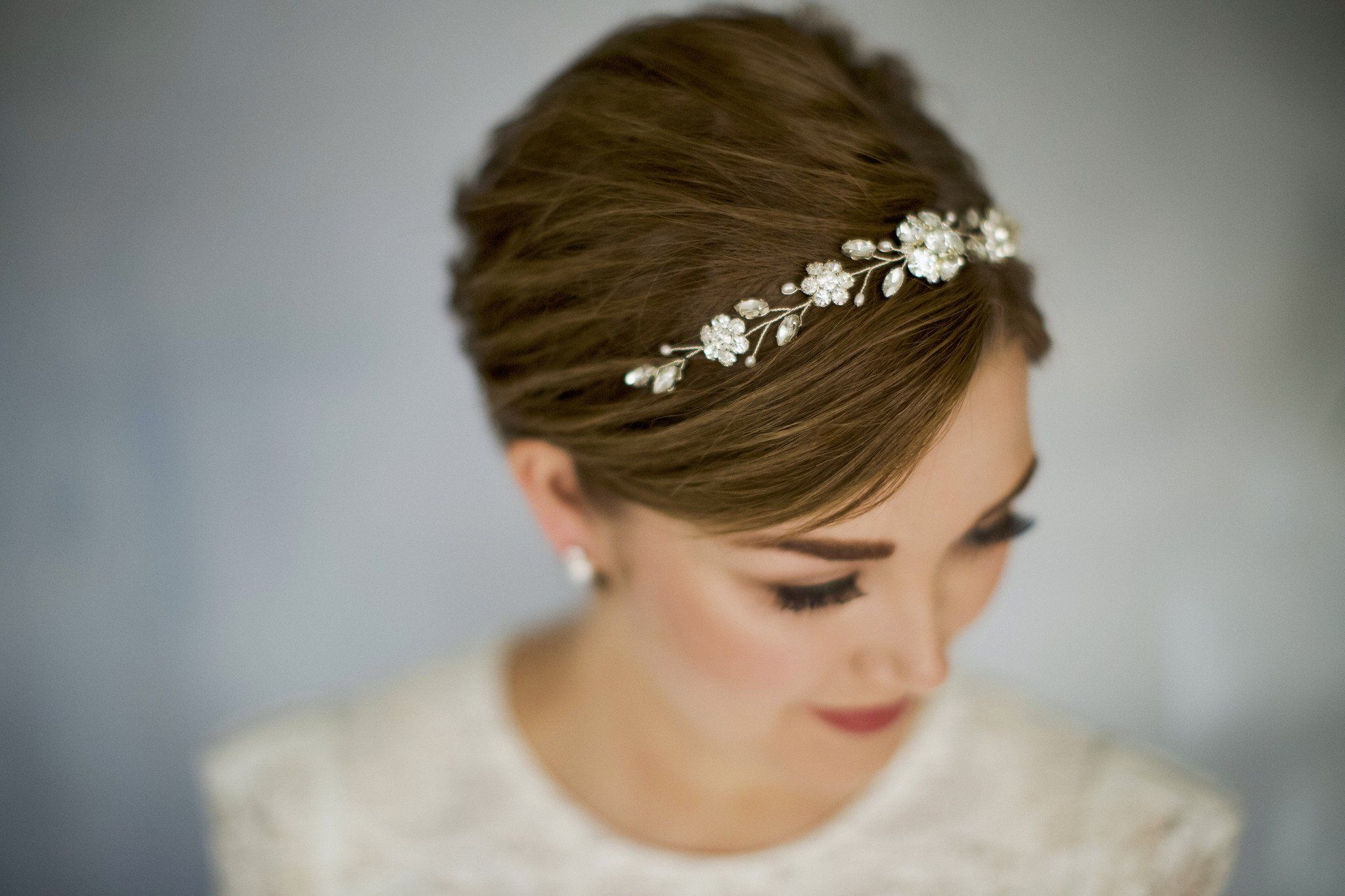 Crystal and pearl bridal browband hair vine – Estelle