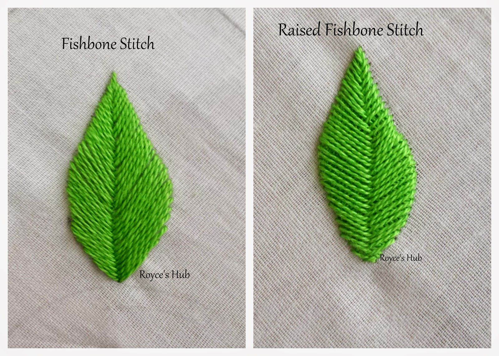 Royce's Hub Embroidery Stitches For Leaves  Fishbone Stitch and ...