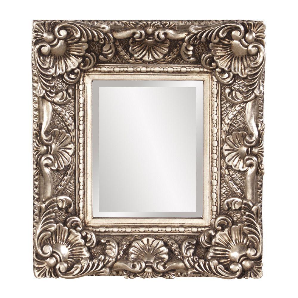 "Howard Elliott Horace Antique Silver Mirror 15"" x 17"" x 3"""