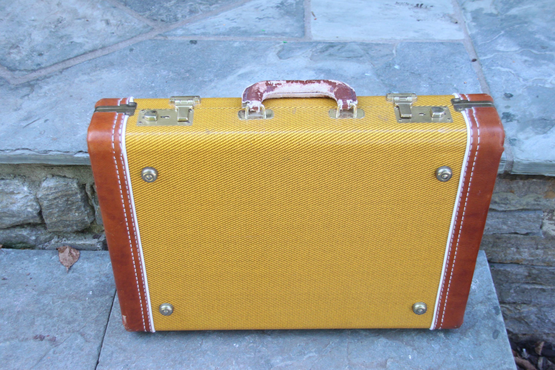 Vintage Tweed Luggage Instrument Case Vintage Briefcase Leather