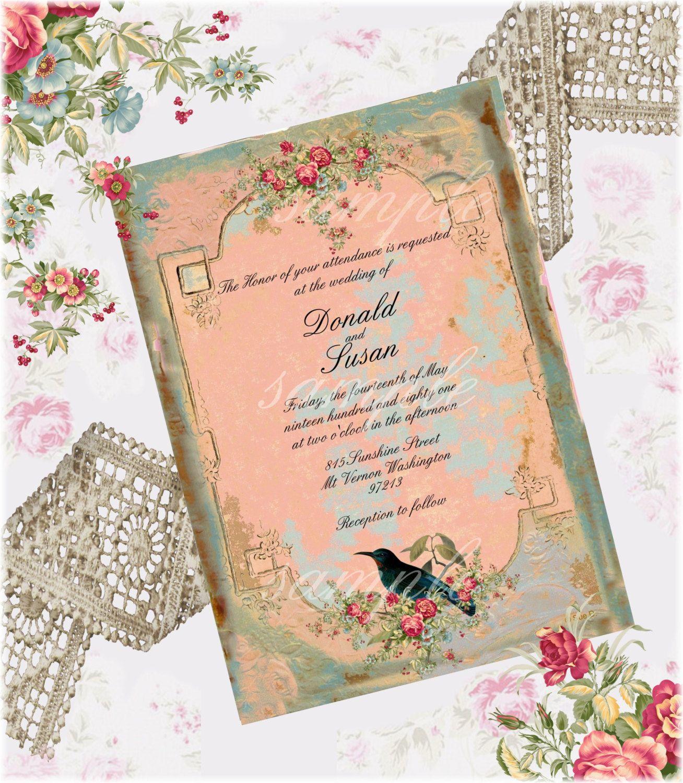 Vintage Wedding Invitation 5 X 7 Printable Digital Collage Sheet