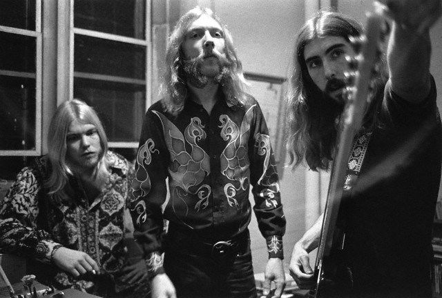 October 16th, 1971, inside of two weeks before Duane's death on Oct. 29th. Gregg Allman, Duane Allman, & Berry Oakley above. Duane and Berry died in separate motorcycle accidents– Duane in 1971 and Berry in 1972.