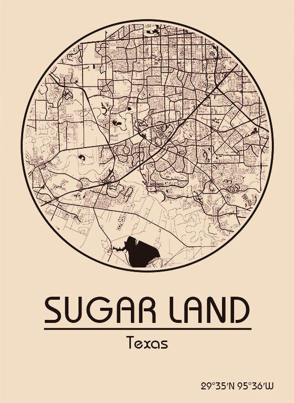 Karte Map Sugar Land Texas Vereinigte Staaten Von Amerika