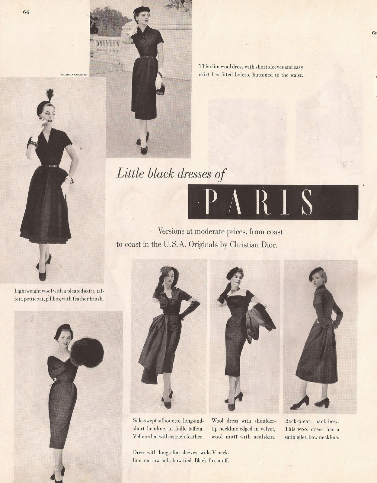 Little Black Dresses by Christian Dior from La s Home Journal
