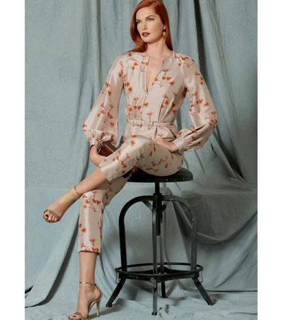 9584b61c973bd Vogue Pattern V1523 Misses u0027 Bishop Sleeve Jumpsuit   Belt-Size 6-14