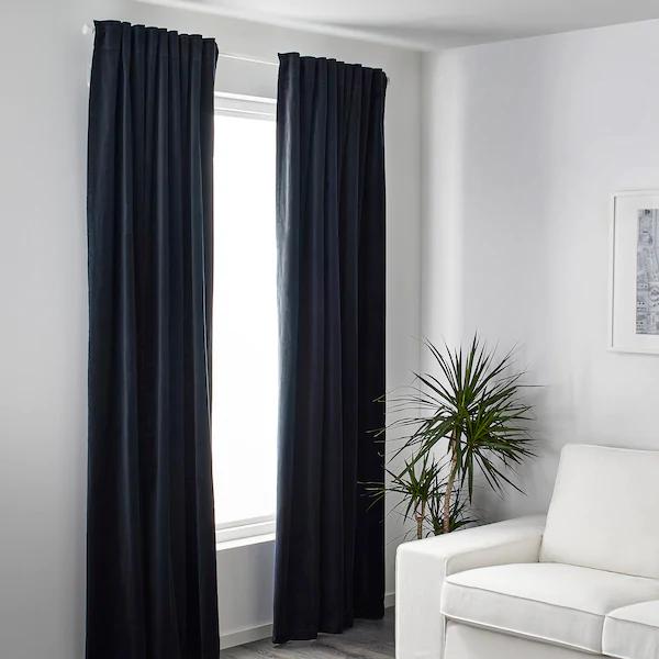 Sanela Room Darkening Curtains 1 Pair Dark Blue 55x118 In