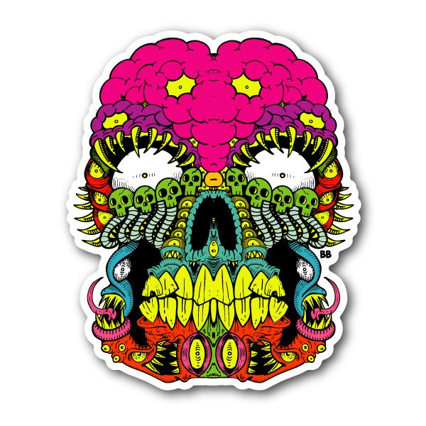 Scary skull sticker 002 vinyl stickers marijuana stickers clear stickers