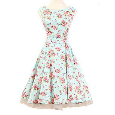 vrouwen+halter+jaren+'50+vintage+bloemenprint+rockabilly+mouwloze+jurk+(geen+petticoat)+–+EUR+€+33.31