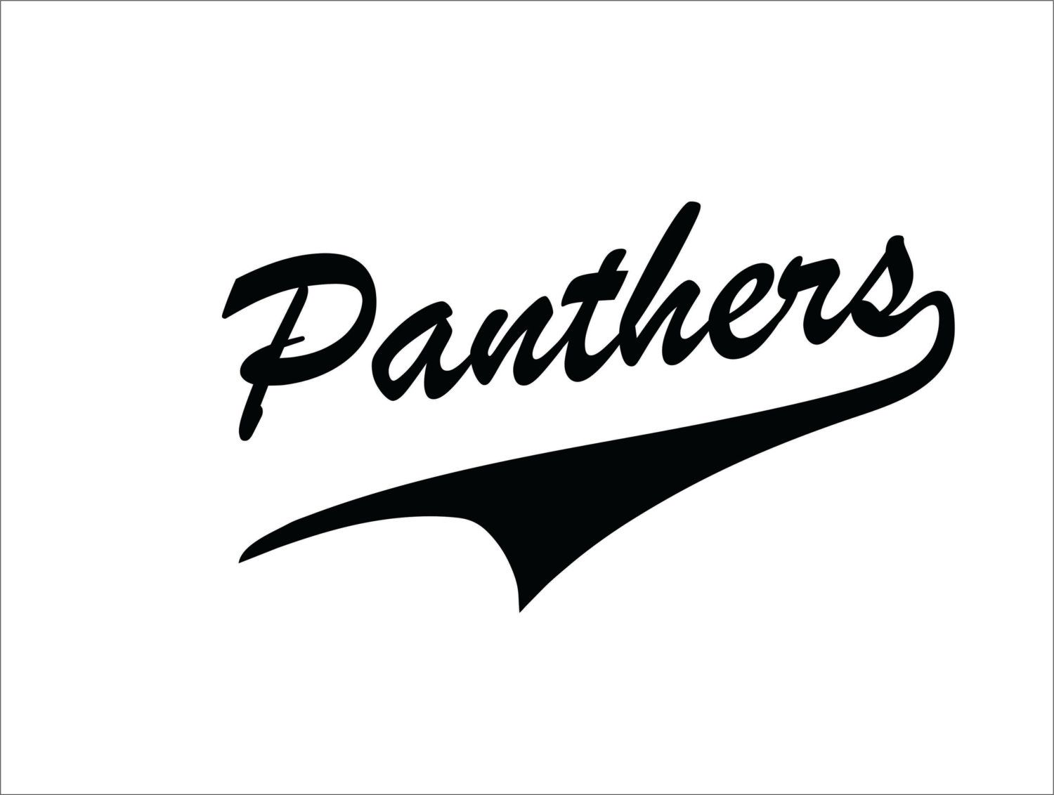 Panthers Script Baseball Softball Word Only With Tale