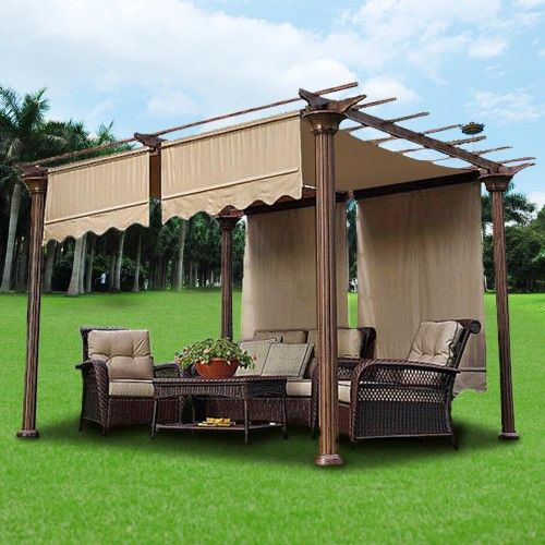 2x 15 5x4 Ft Canopy Cover Replacement Top With Valance For Pergola Structure Beige Pergola Pergola Patio Gazebo Pergola