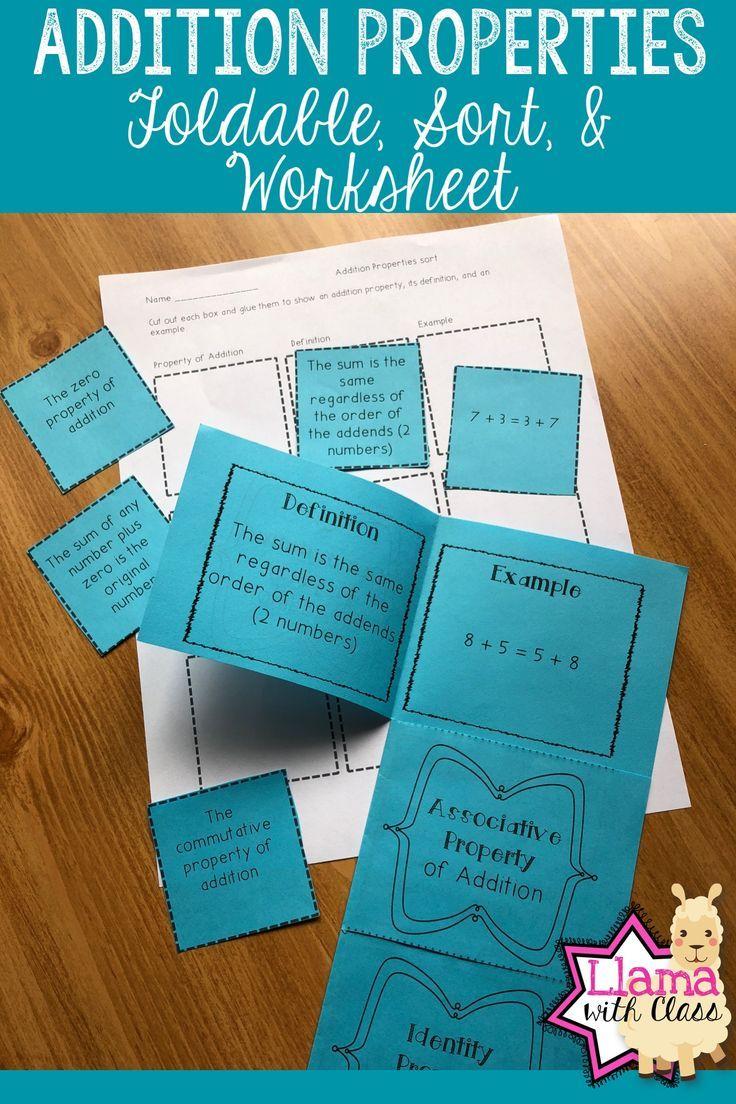 Addition Properties: Organizer, Sort, and Worksheet | Pinterest