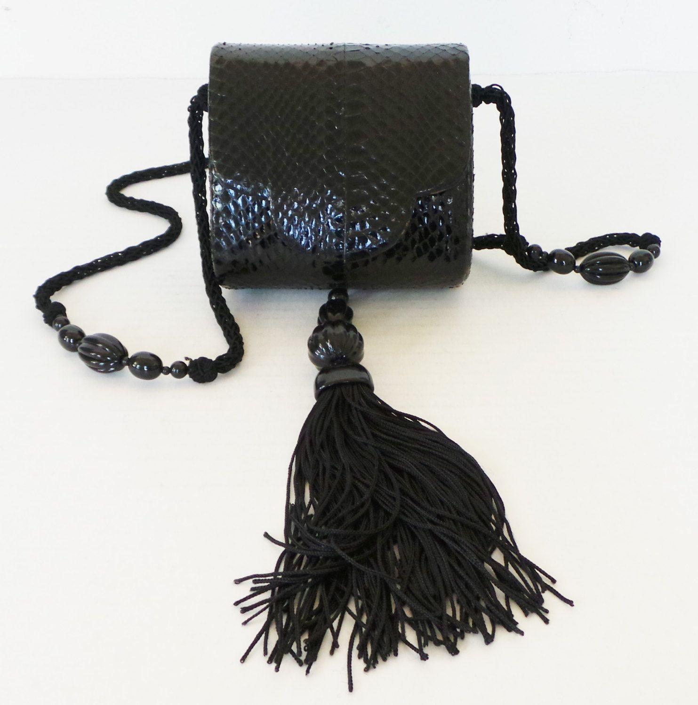 Rare Vintage Rafael Sanchez Black Python Leather Small Evening Clutch Bag Purse By Monastarkfashion On Etsy