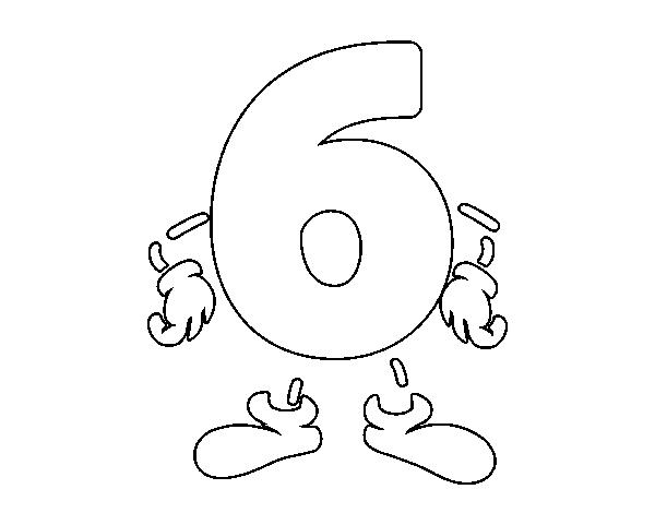 Dibujo del Número 6 para pintar, colorear o imprimir. Colorea online ...
