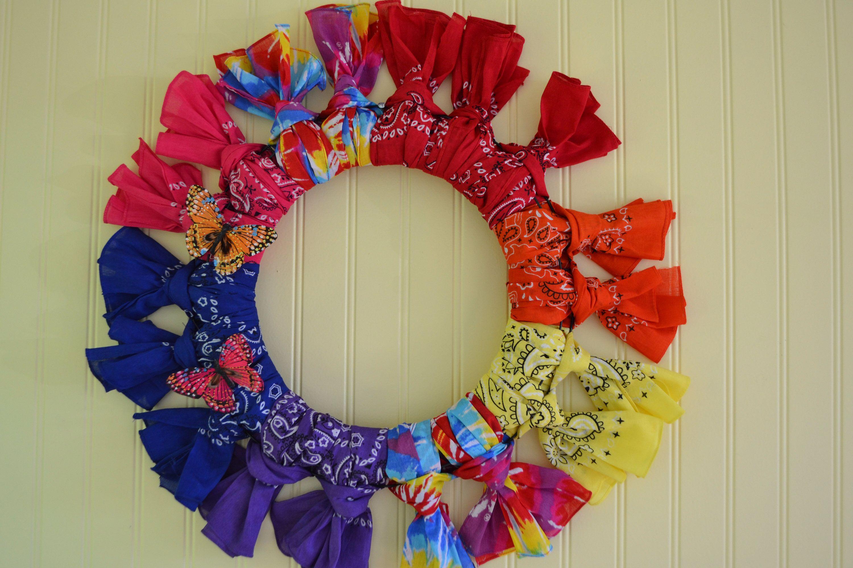 Bandana Wreath, Hippie Decor, Hippie Wreath, Gay Pride Decor, Rainbow