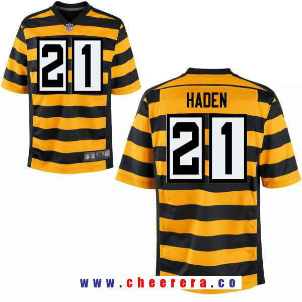 Men s Pittsburgh Steelers  21 Joe Haden Yellow With Black Bumblebee 80th  Patch Stitched NFL Nike 0e0fa9d34