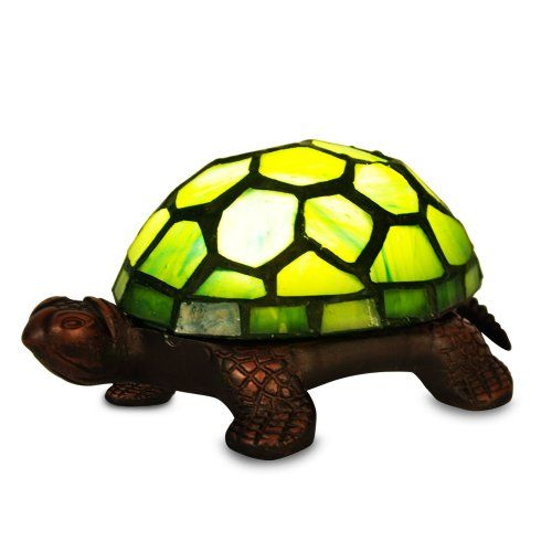 green tiffany tortoise battery operated led bedside table lamp
